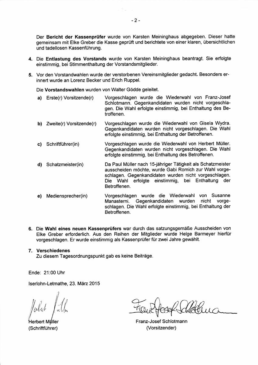 Protokoll Mitgliederversammlung 2015